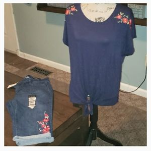 New Anthropologie W5 Floral Embroidered Tie Top